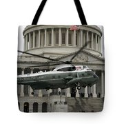 A Vh-60 Helicopter Lands In Front Tote Bag