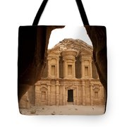 A View Of The Monastary In Petra Tote Bag