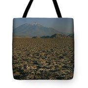 A Volcano Rises Above A Dry Lake Bed Tote Bag