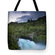 A Waterfall Surrounded By A Forested Tote Bag