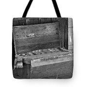 A Weathered Bench Black And White Tote Bag