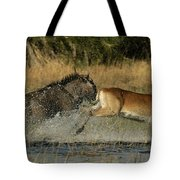 A Wildebeest And A Red Lechwe Leap Tote Bag