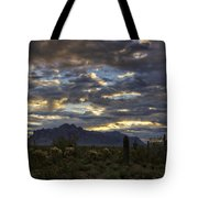 A Winter Sunrise In The Desert  Tote Bag