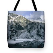 A Winter View Of The Merced River Tote Bag
