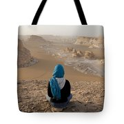 A Woman Sits Quietly On A Cliff Looking Tote Bag