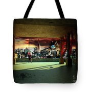 A Woman Spys From The Shadows Tote Bag