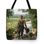 A Woman Talks With A Man Walking Racing Tote Bag