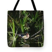 A Wood Duck Reflected In Creek Water Tote Bag
