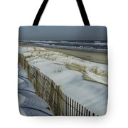 A Wooden Fence Casts A Shadow Tote Bag