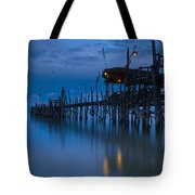 A Wooden Pier With Lights On It At Tote Bag