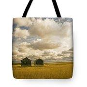 Abandoned Grain Bins With Hail Damaged Tote Bag