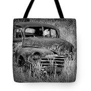 Abandoned Vintage Car Along The Roadside Tote Bag