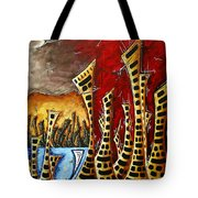 Abstract Art Contemporary Coastal Cityscape 3 Of 3 Capturing The Heart Of The City II By Madart Tote Bag