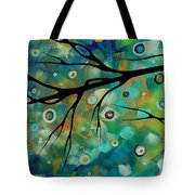 Abstract Art Original Landscape Painting Colorful Circles Morning Blues II By Madart Tote Bag