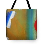 Abstract Blue With Red Sun Tote Bag