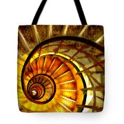 Abstract Golden Nautilus Spiral Staircase Tote Bag