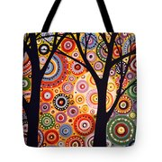 Abstract Modern Tree Landscape Distant Worlds By Amy Giacomelli Tote Bag