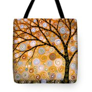 Abstract Modern Tree Landscape Dreams Of Gold By Amy Giacomelli Tote Bag