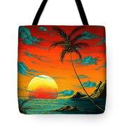 Abstract Surreal Tropical Coastal Art Original Painting Tropical Burn By Madart Tote Bag