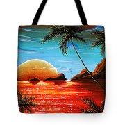 Abstract Surreal Tropical Coastal Art Original Painting Tropical Fusion By Madart Tote Bag