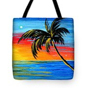 Abstract Tropical Palm Tree Painting Tropical Goodbye By Madart Tote Bag