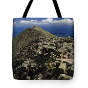 Abutting The Clouds, Hikers Rest Atop Tote Bag