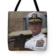 Admiral Eric Olson Speaks Tote Bag by Michael Wood