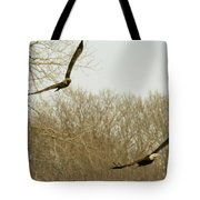 Adult And Immature Bald Eagle Flying Tote Bag