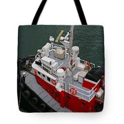 Aerial View Of Red Tug  Tote Bag