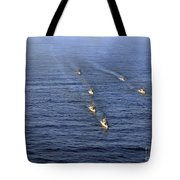 Aerial View Of Ships In Formation Tote Bag