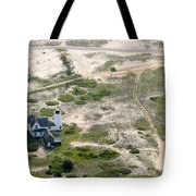 Aerial View Of Stage Harbor Light In Chatham On Cape Cod Massac Tote Bag