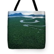 Aerial View Of The Salak River. Mount Tote Bag