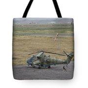 Afghan Army Soldiers Guard An Mi-35 Tote Bag