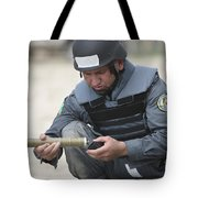Afghan Police Student Prepares Tote Bag