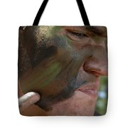 Airman Applies War Paint To His Face Tote Bag