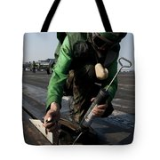 Airman Greases The Catapult Shuttle Tote Bag