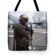 Airman Stands By With Tie-down Chains Tote Bag