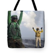 Airmen Communicate To Aircraft Aboard Tote Bag