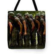 Airmen Stack Up In A Pond Tote Bag