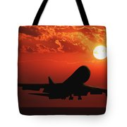 Airplane Landing At Sunset Tote Bag