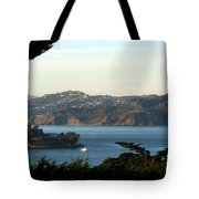 Alcatraz Island American Flag Tote Bag