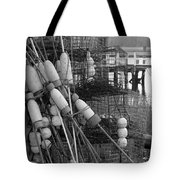 All Stacked Up In Black And White Tote Bag