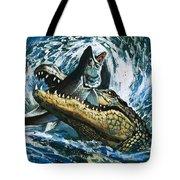Alligator Eating Fish Tote Bag
