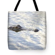 Alligator With Sky Reflections Tote Bag