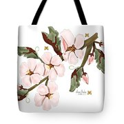 Almond Branch With Flowers And Leaves Tote Bag