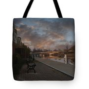 Along The Menasha Riverfront Tote Bag