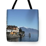 Alpine Village On The Lake Front Tote Bag