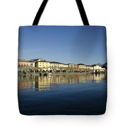 Alpine Village Reflected In The Water Tote Bag