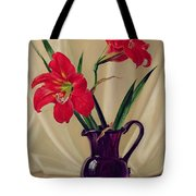 Amaryllis Lillies In A Dark Glass Jug Tote Bag