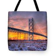 Ambassador Bridge Sunrise 1-16-2012  Detroit Mi Tote Bag